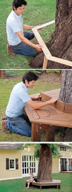 DIY Tree Bench: Build a wooden bench around the tree in your backyard. It provides a great place for your kids to hang out, to read, eat a popsicle and have a rest on summer night.