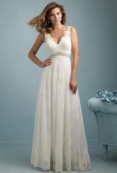 Rock !!! Brides: Allure Bridals. This sleeveless lace gown is cut for maximum comfort and elegance.