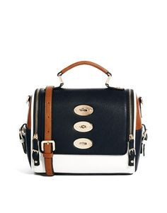 Dune DUCKLEY Multiple Compartment Front Pocket Bag in Black/White ...