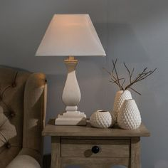 Wooden Lamp Base With White Square Shade