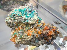 ~ Dioptase with Wulfenite, Mammoth St. Anthony Mine, Arizona, USA