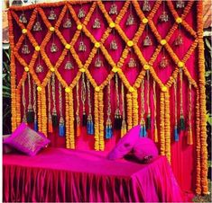 Easy DIY Decor Ideas To Add To Your Intimate Indian Wedding in 2020 Inexpensive Wedding Venues, Unique Wedding Venues, Wedding Reception Venues, Table Wedding, Wedding Stage Decorations, Anniversary Decorations, Desi Wedding Decor, Aisle Decorations, Diwali Decorations
