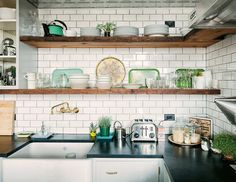 Has to work with whatever the flooring is Subway tiles and open shelving- this is perfection! Wood shelves to display kitchen treasures, fixture in the wall combined with stainless steel appliances. Open Kitchen, Kitchen Dining, Kitchen Decor, Loft Kitchen, Basement Kitchen, Design Kitchen, Kitchen Ideas, Eclectic Kitchen, Kitchen White
