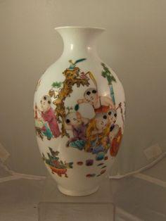 Chinese famille rose porcelain vase 20th century Qianlong mark  & box
