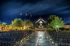 This night garden wedding setting is from one of my favorite venues - the Ruthe Jackson Center in Grande Prairie Tx. Photo courtesy Jim Rode Photographer Dallas Tx. JimRode.com