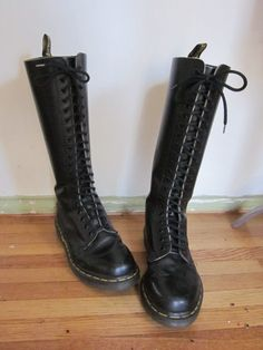 Dr Marten 20 Hole Lace Up Tall Black Boots by VintageChronogram, $95.00