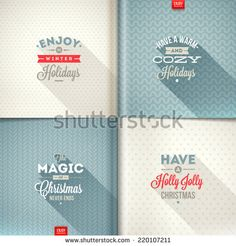 Vector set of Christmas type design with long shadow on a different backgrounds - stock vector