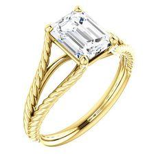 1.5 Ct Emerald Ring 14k Yellow Gold