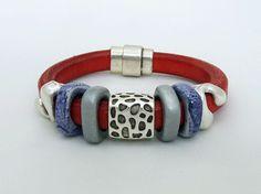 Regaliz Bracelet on Red Orange Leather