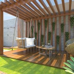 Modern Decor - How about this pergola with Balancinho to mark the end of Sunday . Modern Decor - How about this pergola with Balancinho to mark the end of Sunday . 60 Best and Shady Pergola Ideas Building A Pergola, Wooden Pergola, Outdoor Pergola, Backyard Pergola, Pergola Shade, Backyard Landscaping, Outdoor Decor, Pergola Roof, Outdoor Living
