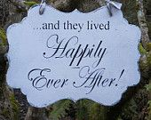 REVERSIBLE WEDDING SIGN Here Comes the Bride, Happily Ever After for Flower Girl, Ring Bearer Vintage Style. $42.00, via Etsy.
