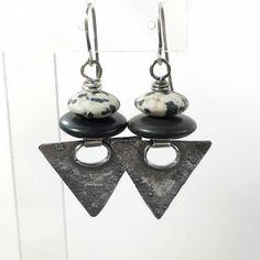 Oxidised silver dalmation jasper and black agate triangular earrings £48.00