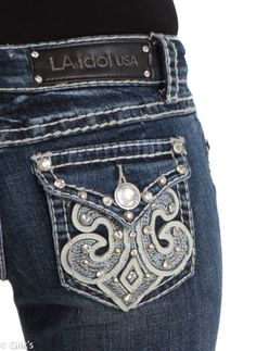 LA Idol Bootcut Jeans | LA Idol Jeans Lace White Leather Bootcut 3216LP Country Outfits, Winter Outfits, Summer Outfits, Cute Outfits, Bling Jeans, Silver Jeans, Style Clothes, Winter Clothes, Trending Jeans
