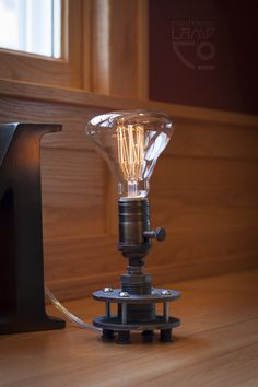 5 – Industrial Light Fixture – Edison Bulb Pipe Lamp — Lamp Co. Industrial Light Fixtures, Industrial Lighting, Industrial Pipe, Vintage Industrial, Industrial Design, Rustic Table Lamps, Rustic Desk, Pipe Lighting, Lighting Ideas