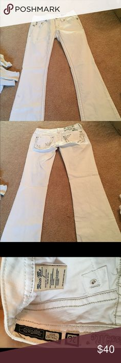 White Miss Mes White Miss Mes. worn once. have two small black marks you can see. these are flare. Miss Me Pants Boot Cut & Flare