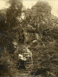 """The Original Scenic Railway at Katoomba, in the Blue Mountains, NSW. Was a tourists ride in a coal skip on the """"scenic railway"""", 1915"""