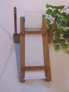 Vintage Wood Roll Paper Receipt Note Dispenser for the by kchoos