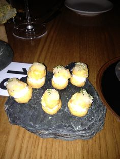 Absolutely divine profiteroles filled with goat cheese and drizzled with Rata honey - from Josh Emett's fabulous Rata restaurant in Queenstown, New Zealand