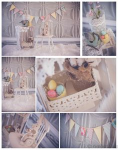 Easter minis set-up, shabby chic