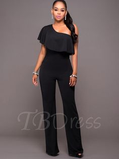 9540bc354e1 2017 Wide Leg Ruffles sexy party one shoulder long pants Rompers Jumpsuit  for Women 2017 Short Sleeve elegant black Overalls