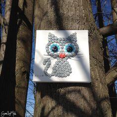 Gombíkový obraz - Mačka Murka