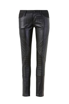 PROMISE OF STARS - lovestate super skinny, cropped denim jean with embossed leather detail on front - LOVE!