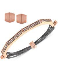 Vince Camuto Crystal Pavé Studded Leather Bracelet in Pink (Rose ...