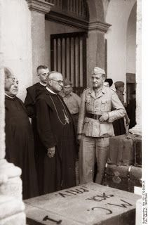Gregorio Diamare and the ecclesiastical authorities of Monte Cassino abbey giving German Luftwaffe troops the permission to remove artwork for transfer to Germany, 4 Jan 1944. (German Federal Archive)