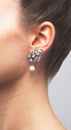 Clustered Rhinestone And Pearl Earrings ==