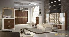 Dormitorio Curve en acabados alegría, frentes chapa de nogal avellana y detalles en champagne. #designfurniture #Dormitorio #Bedroom