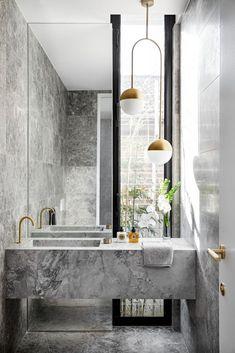 Modern Marble Bathroom, Grey Modern Bathrooms, Luxurious Bathrooms, Monochrome Interior, Grey Interior Design, Black And White Interior, Powder Room Design, Bathroom Design Luxury, Grey Bathroom Interior