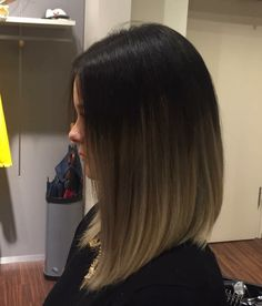 Concave long bob root stretch balayage
