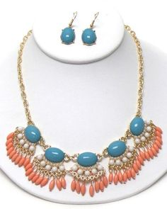 Blue White and Coral Puffy Acrylic Bubble Bib Necklace and Earring Set