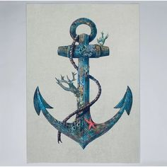 Lost at Sea Art Print by Terry Fan Ocean Tattoos, Sea Tattoo, Anchor Wallpaper, Terry Fan, Sea Colour, Tatuagem Old School, Anchor Tattoos, Sea Art, Canvas Prints