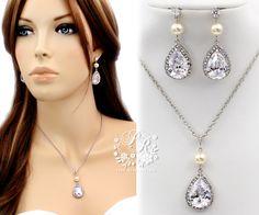 Wedding Necklace Earrings Swarovski Pearl by PureRainDesigns