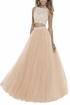 BessDress Two Piece Sequined Bodice Prom Dresses 2017 Long Beaded Ball Gowns * For more information, visit image link. Prom Dresses Two Piece, Cute Prom Dresses, Prom Dresses 2018, Ball Gowns Prom, Tulle Prom Dress, Dance Dresses, Ball Dresses, Pretty Dresses, Beautiful Dresses