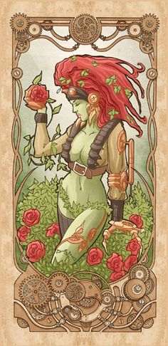 """Mucha Style - """" #PoisonIvy"""" Illustration in style of """"Alphonse Mucha"""" by """"Luca Maresca"""""""