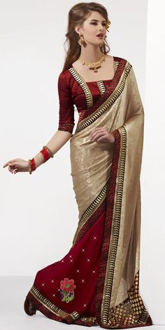 $75.31 Red and Brown Stone Work Half Party Wear Saree 23653