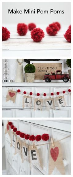 With Valentine's Day getting closer, you might still be looking for some fun Valentine's Day Decorations that you can add to your home decor.  Today I want to share with you How to Make Mini Pom Poms with Yarn.