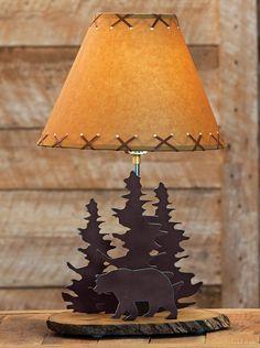 Bear Rustic Metal Lamp