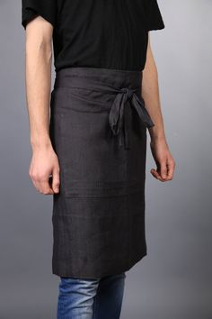 Linen apron / half apron / handmade linen Chef apron by LinenCloud