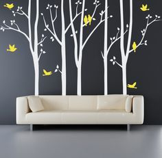 Tree+Wall+Decal++trees+with+birds+wall+decals+by+quirkeewalls,+$95.00
