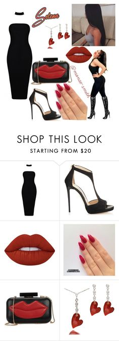 """Selena Quintanilla "" by beautybynaee ❤ liked on Polyvore featuring Jimmy Choo, Lime Crime and Alice + Olivia"