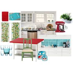 White kitchen with red, turquoise, and green accents