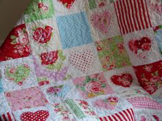 Inspiration @ Crafty Resolutions: Heart quilt made from Lecien Flower Sugar and Tanya Whelan fabric
