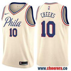 5dc2aae8b94 Philadelphia 76ers  10 Maurice Cheeks Cream Nike NBA Men s Stitched  Swingman Jersey City Edition