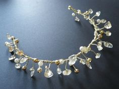 Golden Citrine- Hair Vine- Gold- Pearls- Wire Wrapped- Wedding- Prom- Homecoming- Tiara- Crown- Headband- Hair Accessory- CassieVision on Etsy, $49.50