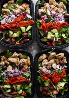 Greek Chicken Salad Bowls Recipe via The Kitcheneer - Whole30 - Lunch Ideas