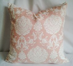 Pink Damask Print Pillow Cover, 18x18 Pillow Cover, Decorative Pillow, Toss Pillow, Slate Blue and White, Home Decor, Summer, Spring Decor