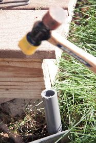 Step Insert poles into their fittings and attach extra pipe straps to the ext. - Step Insert poles into their fittings and attach extra pipe straps to the exterior wall where the - Outdoor Hanging Lights, Patio String Lights, Backyard Lighting, Outdoor Lighting, Lighting Ideas, Backyard Projects, Outdoor Projects, Pvc Projects, Outdoor Crafts